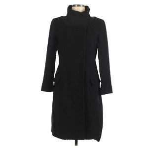 BCBGMAXAZRIA Black Wool Heavy Pea Trench Coat